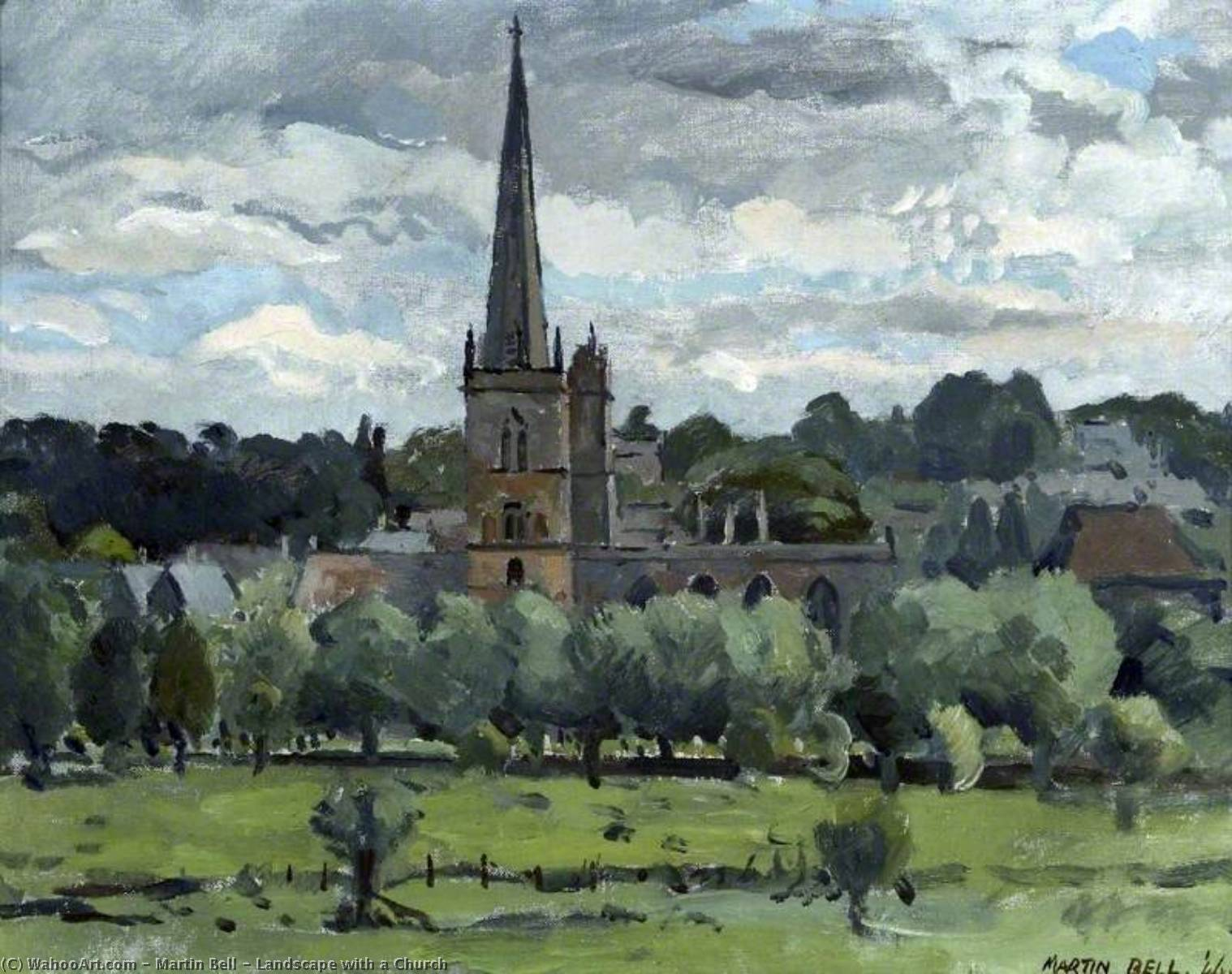 Buy Museum Art Reproductions | Landscape with a Church, 1944 by Martin Bell | WahooArt.com