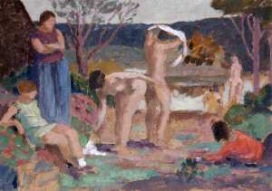 Order Reproductions | Figures Bathing, 1933 by Martin Bell | WahooArt.com