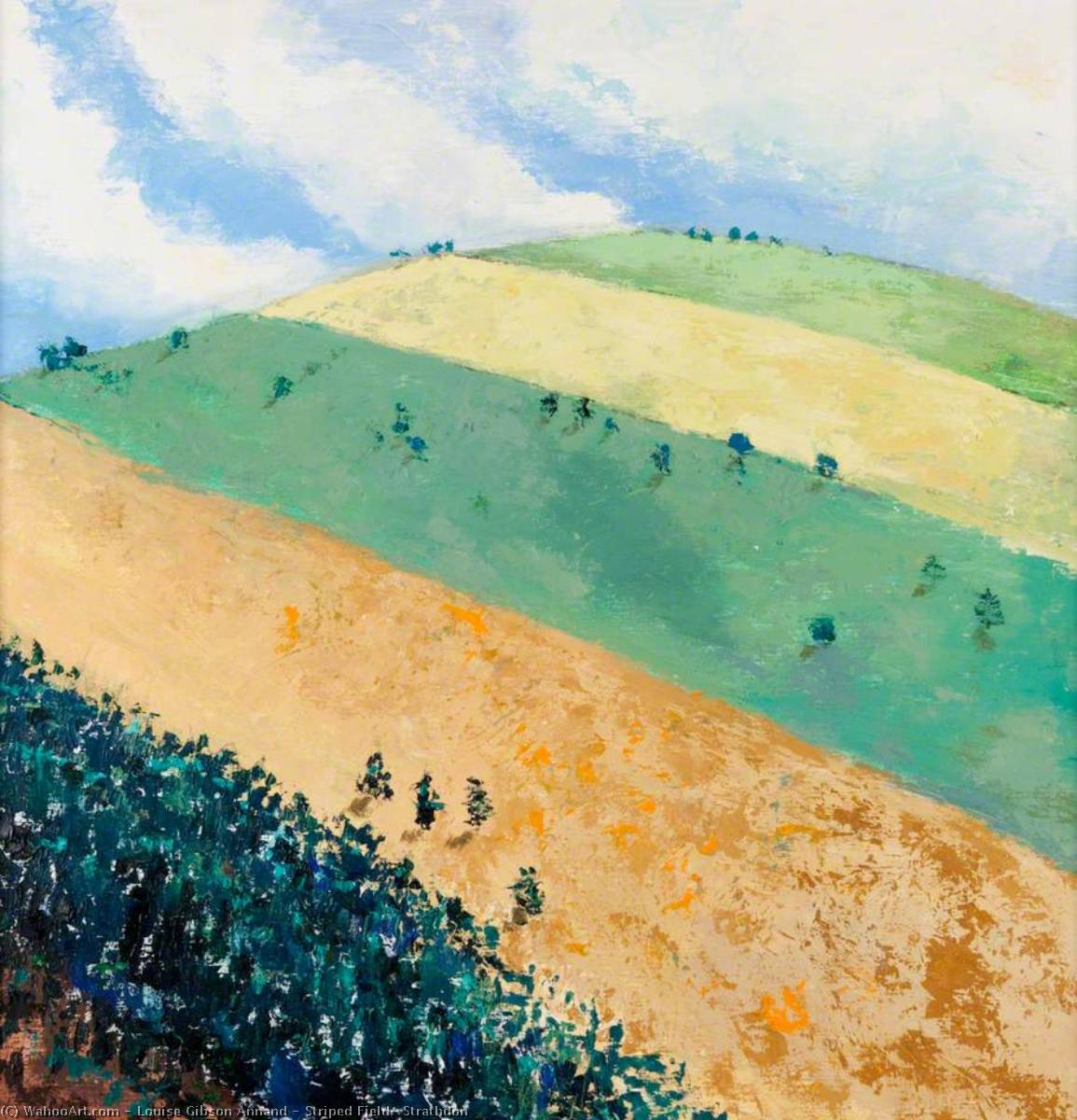 Striped Field, Strathdon, 2001 by Louise Gibson Annand | Reproductions Louise Gibson Annand | WahooArt.com