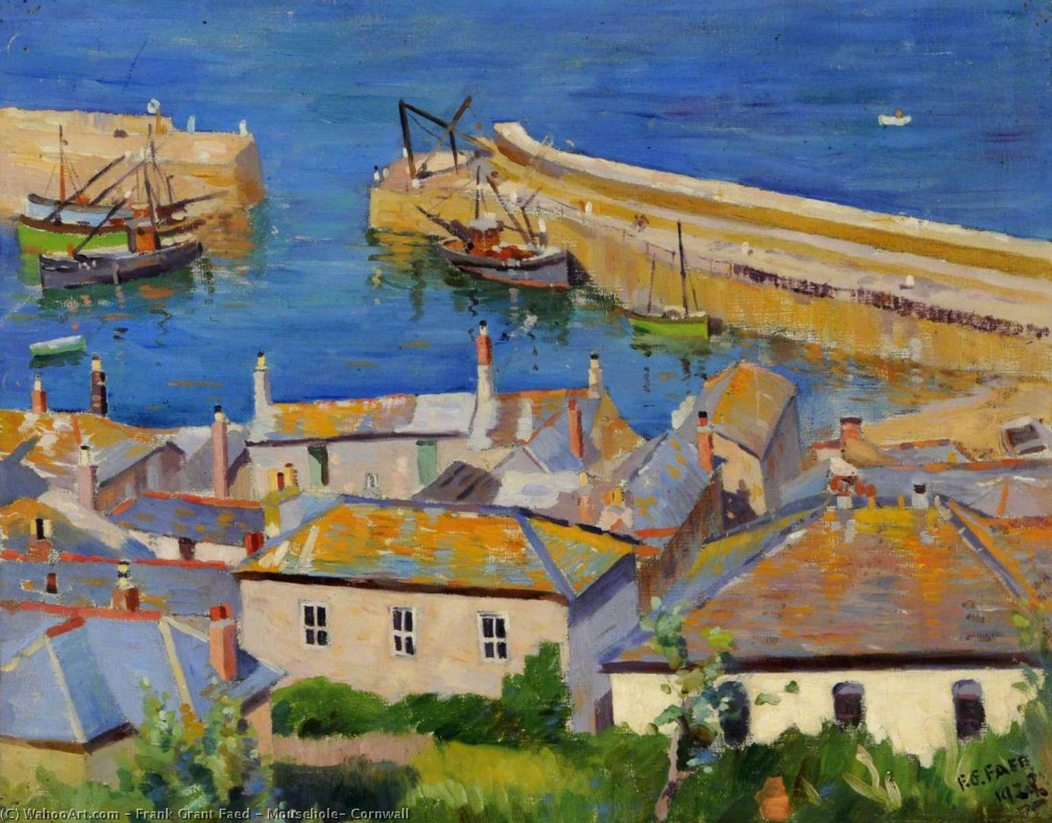 Mousehole, Cornwall, 1938 by Frank Grant Faed | Paintings Reproductions Frank Grant Faed | WahooArt.com