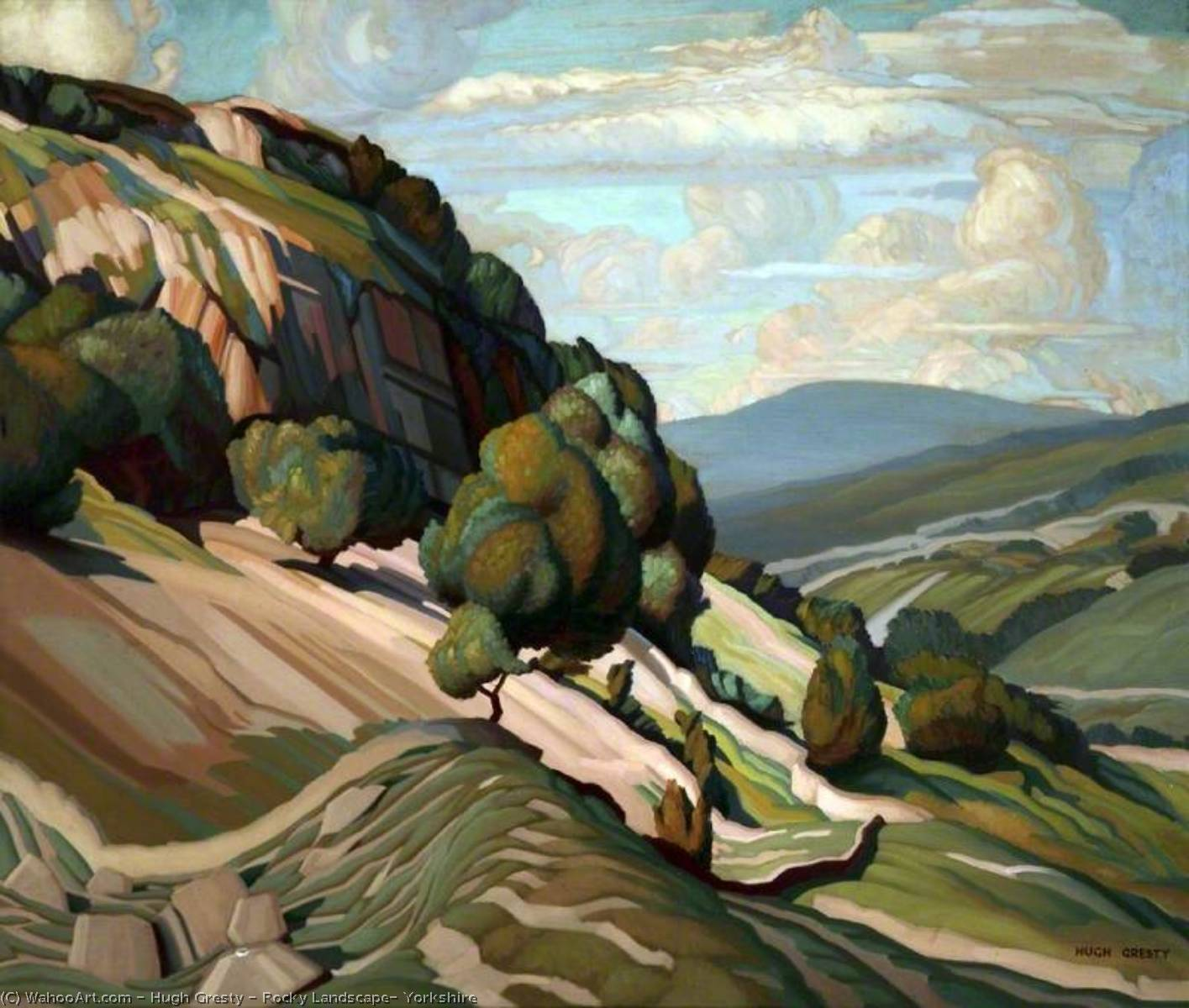 Order Reproductions | Rocky Landscape, Yorkshire by Hugh Gresty | WahooArt.com