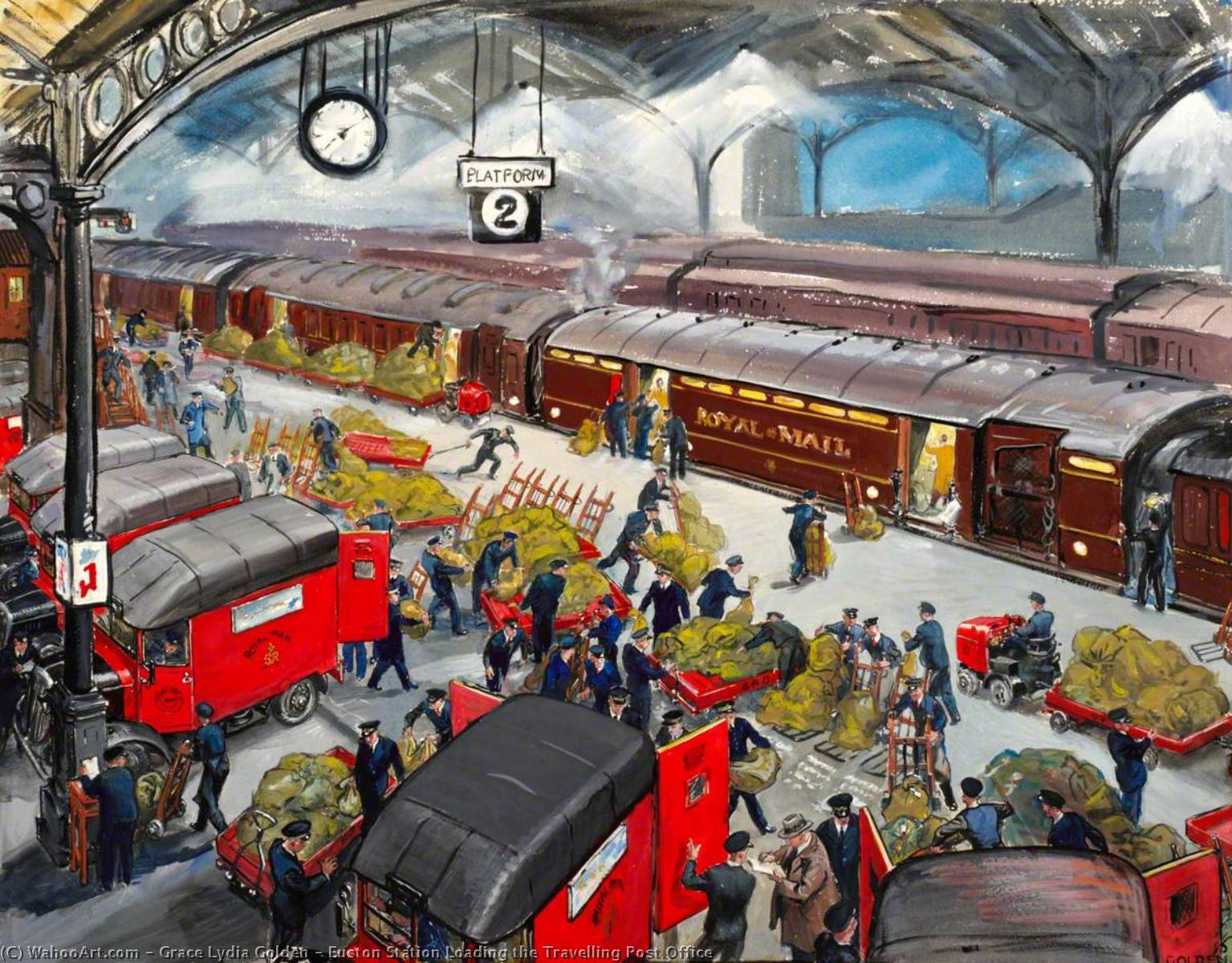 Euston Station Loading the Travelling Post Office, 1948 by Grace Lydia Golden | Reproductions Grace Lydia Golden | WahooArt.com