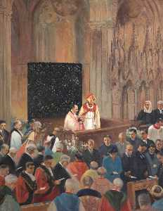 Beryl Trist Newman - The Enthronement of Bishop Robert Mortimer, Bishop of Exeter (1948–1973)