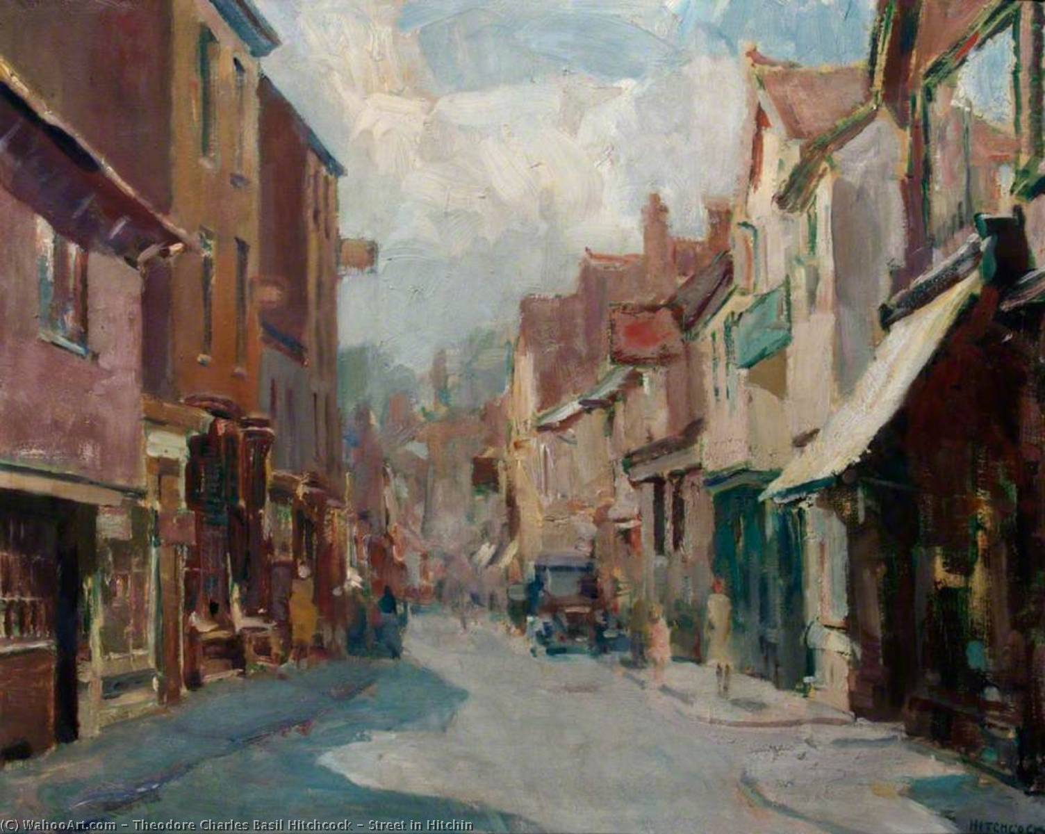 Street in Hitchin, Oil by Theodore Charles Basil Hitchcock