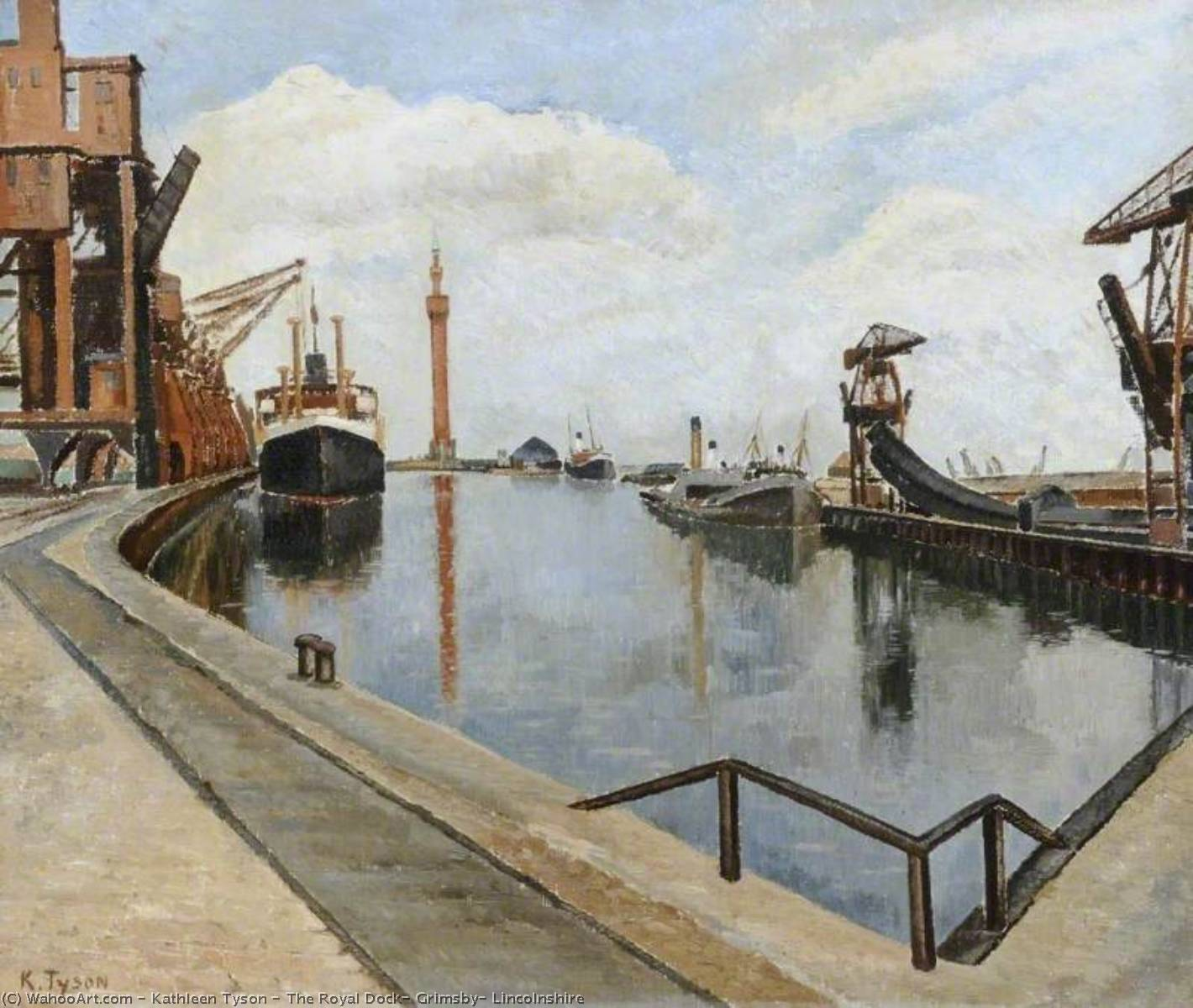 The Royal Dock, Grimsby, Lincolnshire, Oil On Canvas by Kathleen Tyson