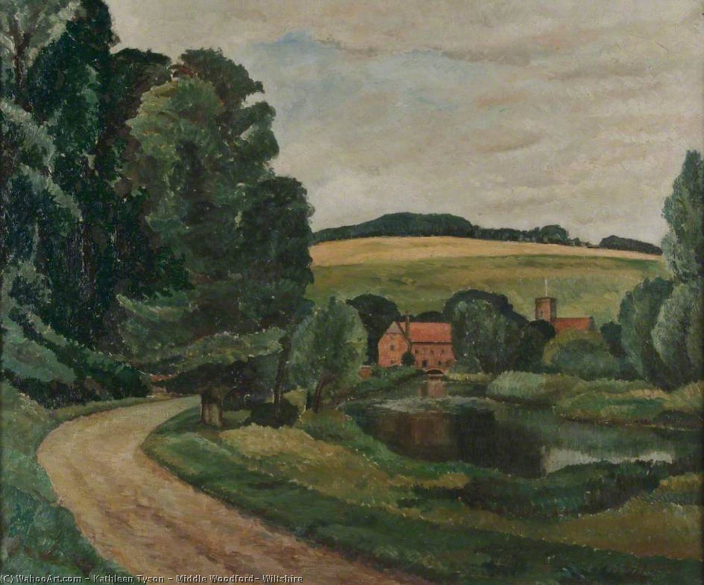 Middle Woodford, Wiltshire, Oil On Canvas by Kathleen Tyson