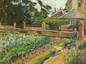 Order Painting Copy : Kitchen Garden, Whitminster House, Gloucestershire, 1991 by Vivienne M Luxton | WahooArt.com