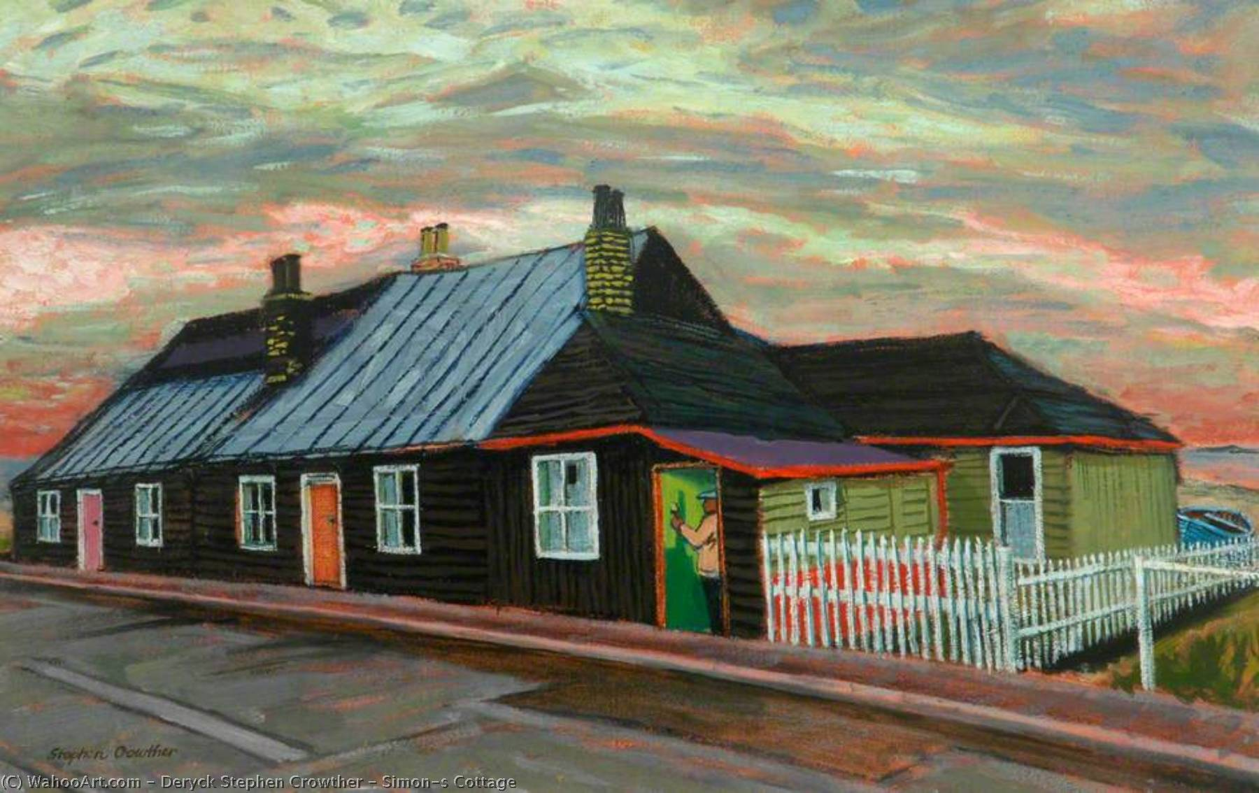 Simon's Cottage, Oil On Canvas by Deryck Stephen Crowther