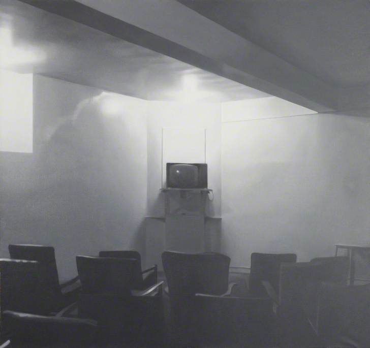 TV Room, Oil On Canvas by Paul Winstanley