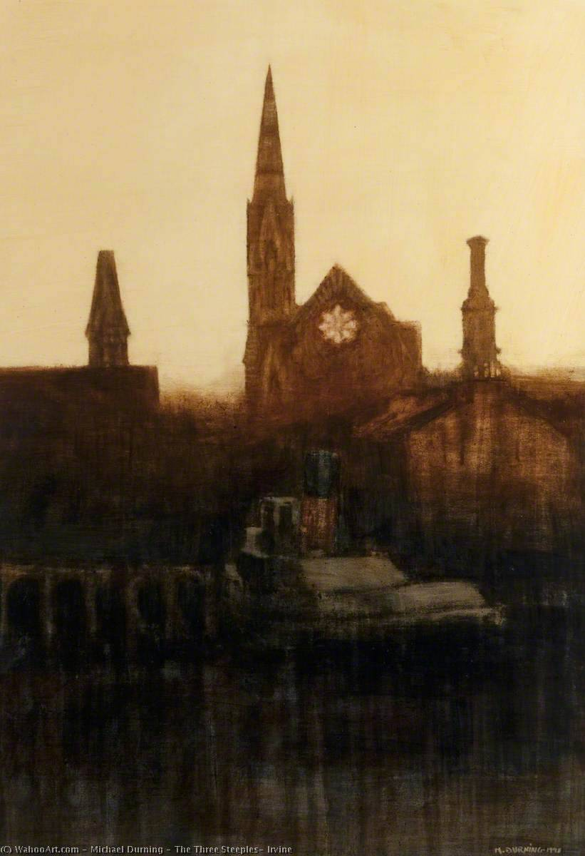 The Three Steeples, Irvine, Oil by Michael Durning