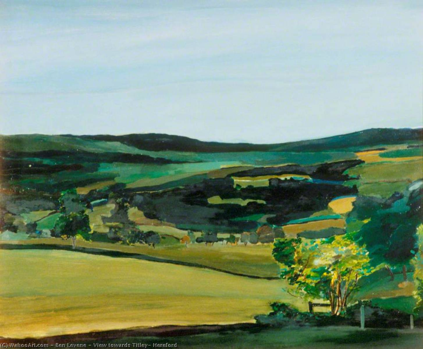 View towards Titley, Hereford, Oil by Ben Levene