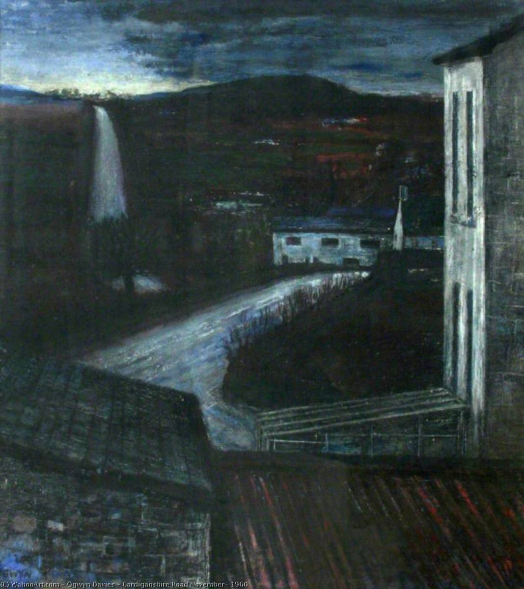 Cardiganshire Road November, 1960, Oil by Ogwyn Davies