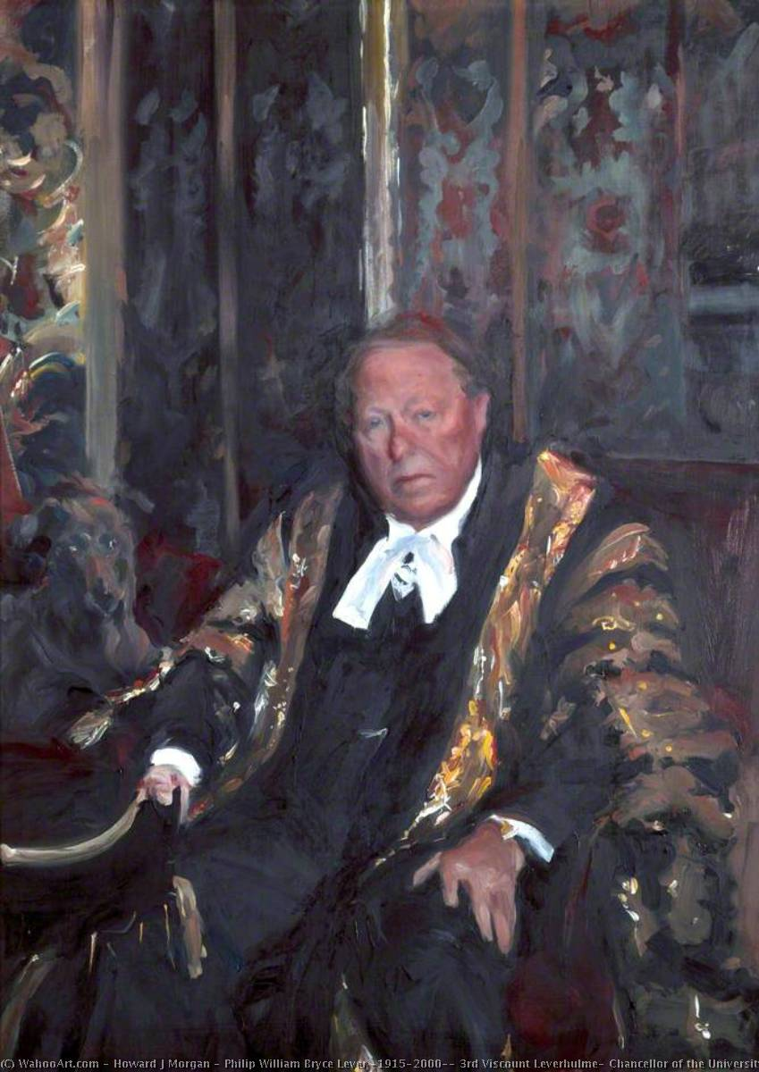 Philip William Bryce Lever (1915–2000), 3rd Viscount Leverhulme, Chancellor of the University of Liverpool (1980–1993), Oil On Canvas by Howard J Morgan