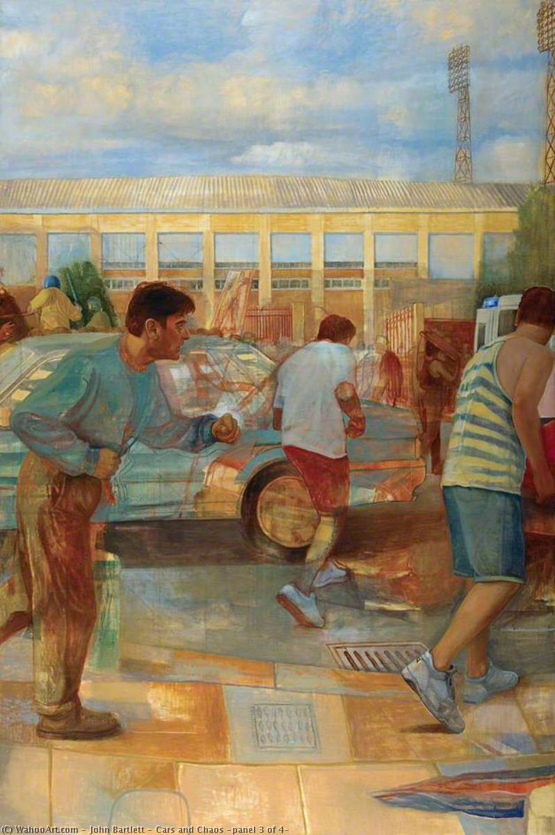Cars and Chaos (panel 3 of 4), 1996 by John Bartlett | Painting Copy | WahooArt.com