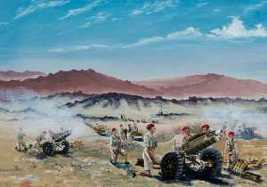 David Anthony Le Cheminant - Live Firing, Palestine, 75mm Howitzers of 210 Battery, 53rd Airlanding Light Regiment Royal Artillery, September 1946
