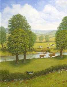 Alfred William Watkin - Dorset Landscape with a River and Cows