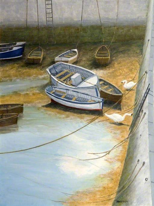 Buy Museum Art Reproductions | Boats and Seagulls in a Harbour by Alfred William Watkin | WahooArt.com