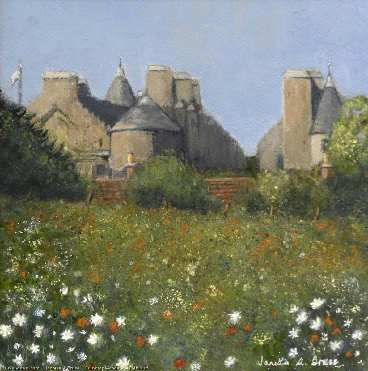 Summer Meadow – Falkland, Oil by Janetta A Bruce