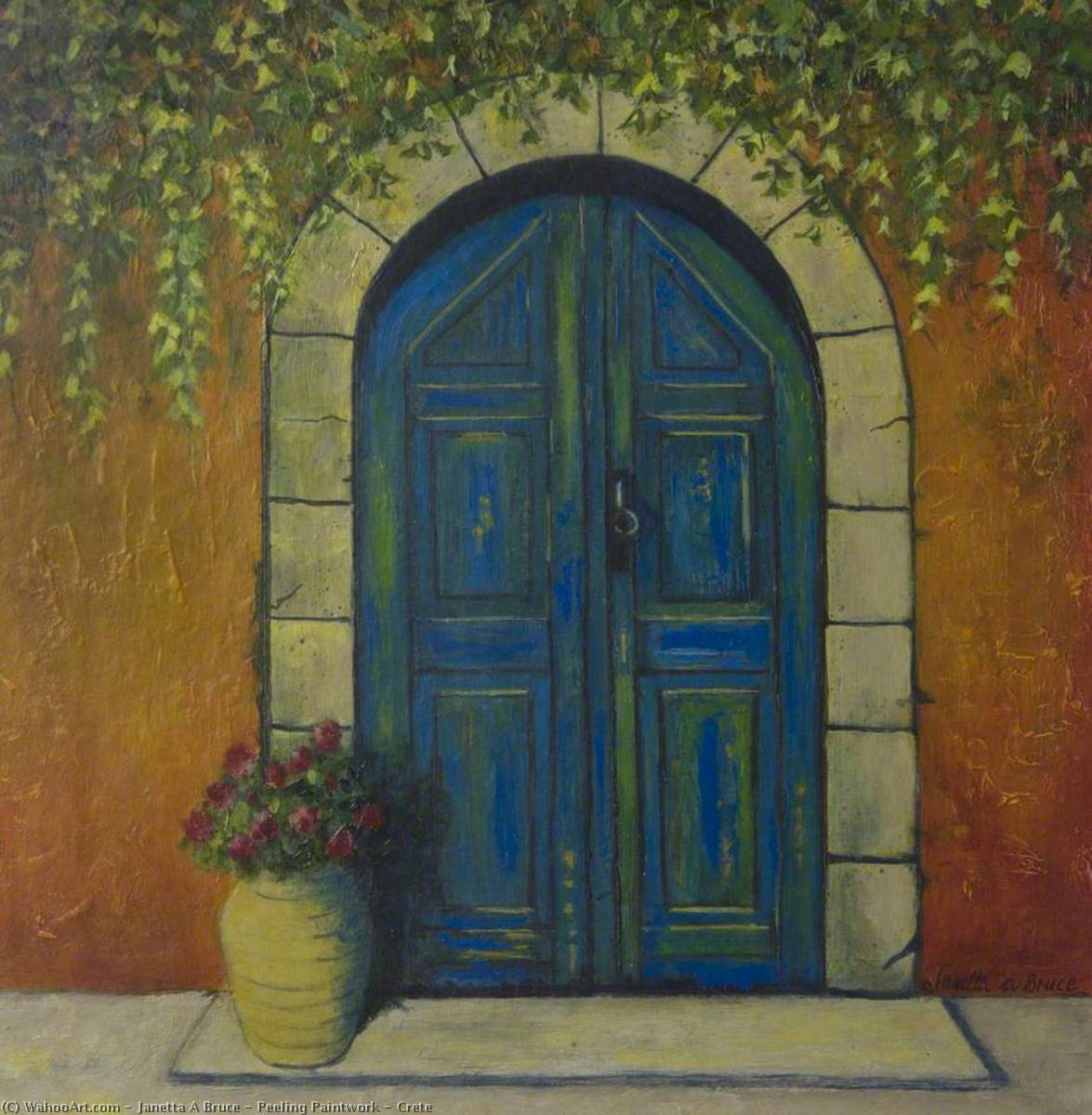 Peeling Paintwork – Crete, Oil On Canvas by Janetta A Bruce