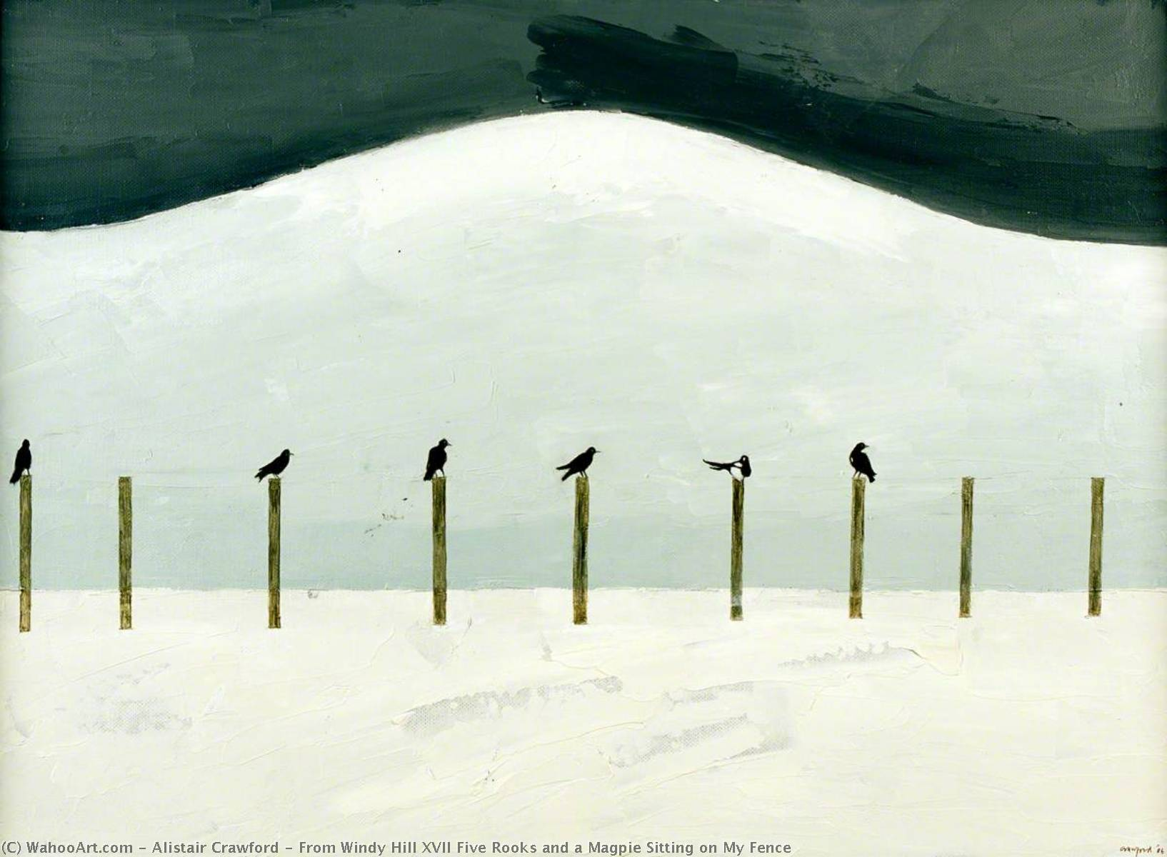 From Windy Hill XVII Five Rooks and a Magpie Sitting on My Fence, Oil On Canvas by Alistair Crawford