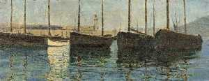 Domenico D. J Barnett - Boats in a Harbour (Sketch at St Ives, Cornwall)
