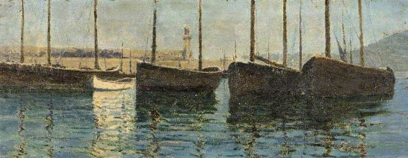 Boats in a Harbour (Sketch at St Ives, Cornwall) by Domenico D. J Barnett | Museum Quality Copies Domenico D. J Barnett | WahooArt.com