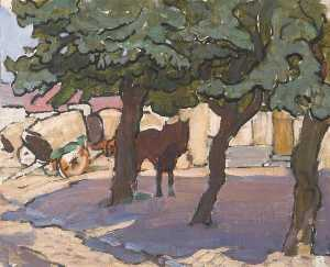 Anne Louise Falkner - Street Scene with Trees and Carts