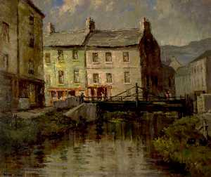 Padraic John Woods - Newry Town Scene with a River and a Bridge