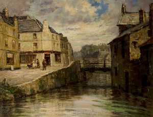 Padraic John Woods - Townscape of Newry with a Bridge