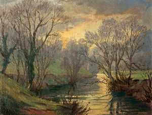 Hanmer Griffith - River Scene (possibly the Monnow)