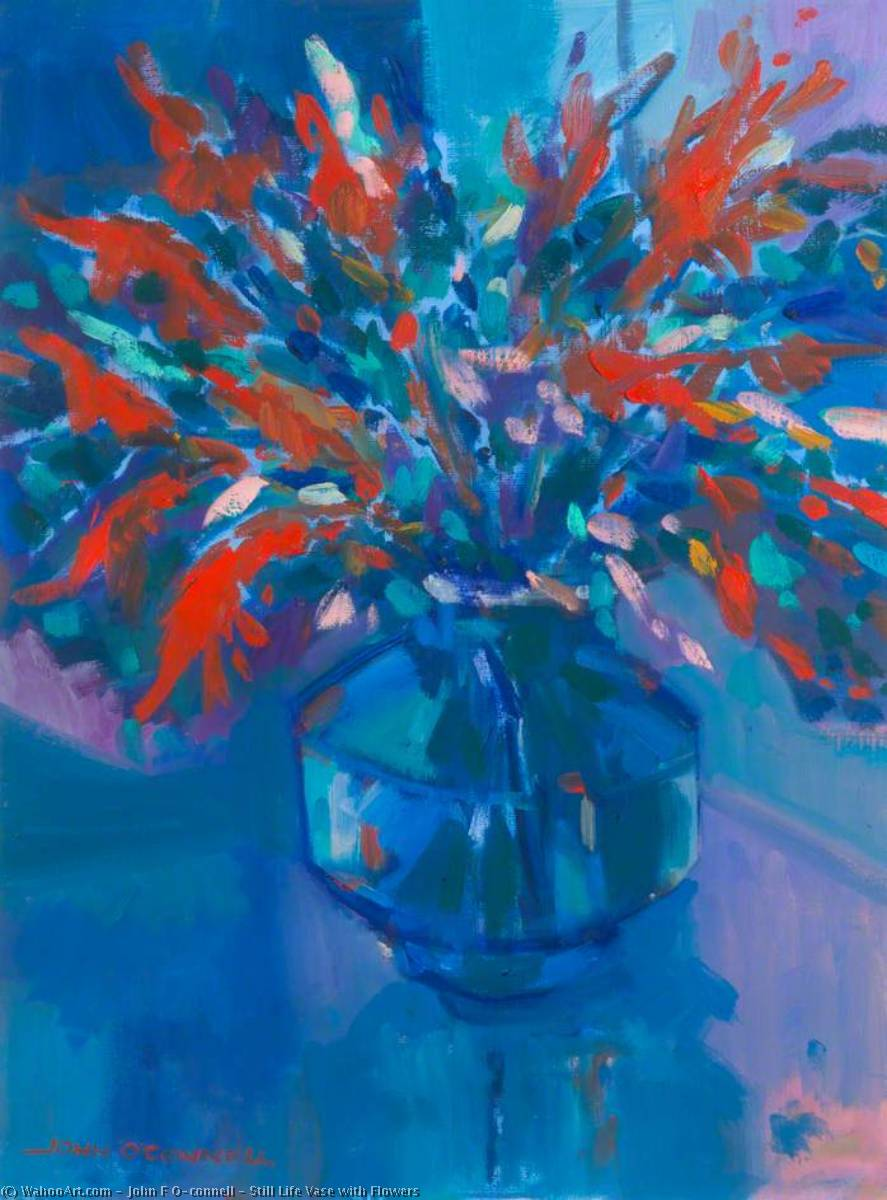 Buy Museum Art Reproductions | Still Life Vase with Flowers by John F O'connell | WahooArt.com