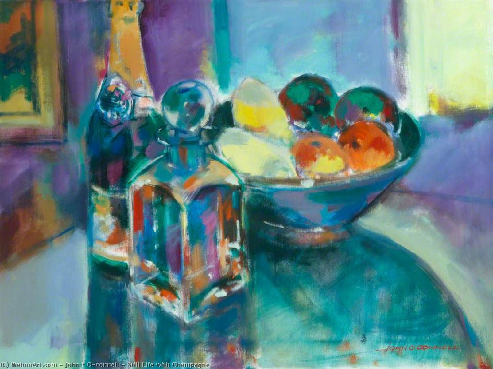 Still Life with Champagne by John F O'connell | Paintings Reproductions John F O'connell | WahooArt.com