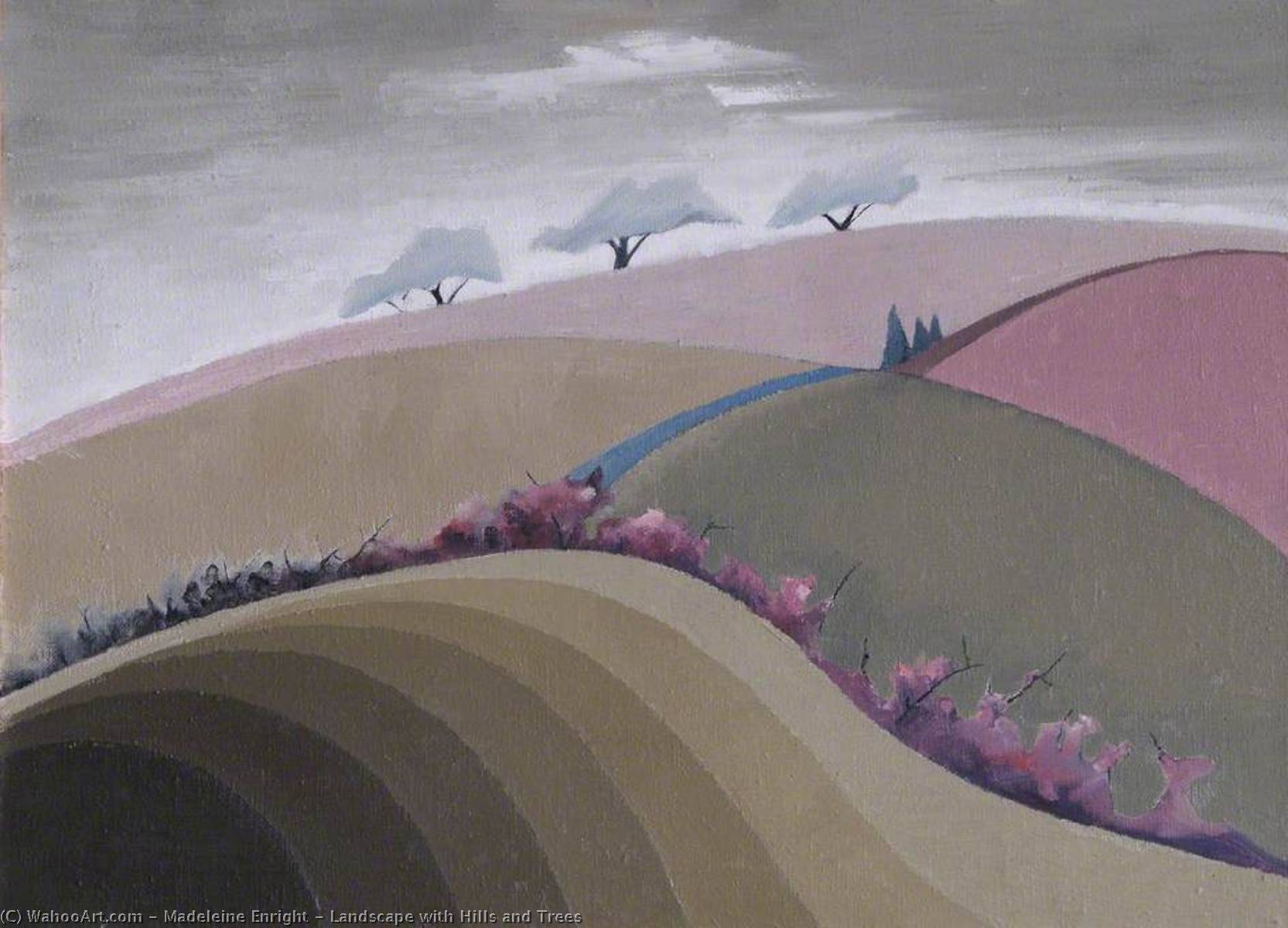 Landscape with Hills and Trees, Oil On Canvas by Madeleine Enright