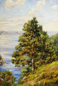 Elsie Marion Henderson - View of Herm from the Pine Forest, Guernsey