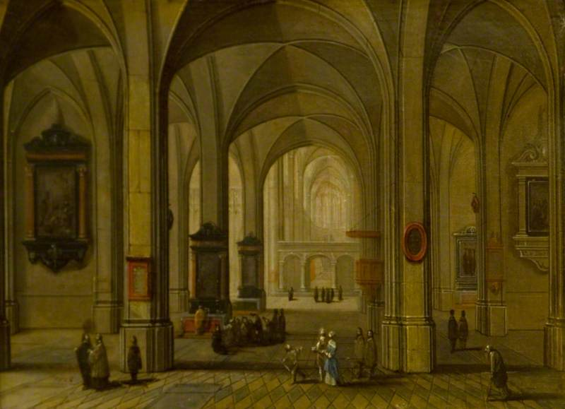 Interior of a Church by Peeter Neeffs The Younger (1620-1675, Belgium) | Oil Painting | WahooArt.com