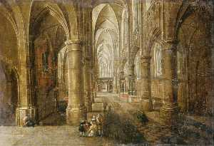 Peeter Neeffs The Younger - Interior of an Imaginary Cathedral