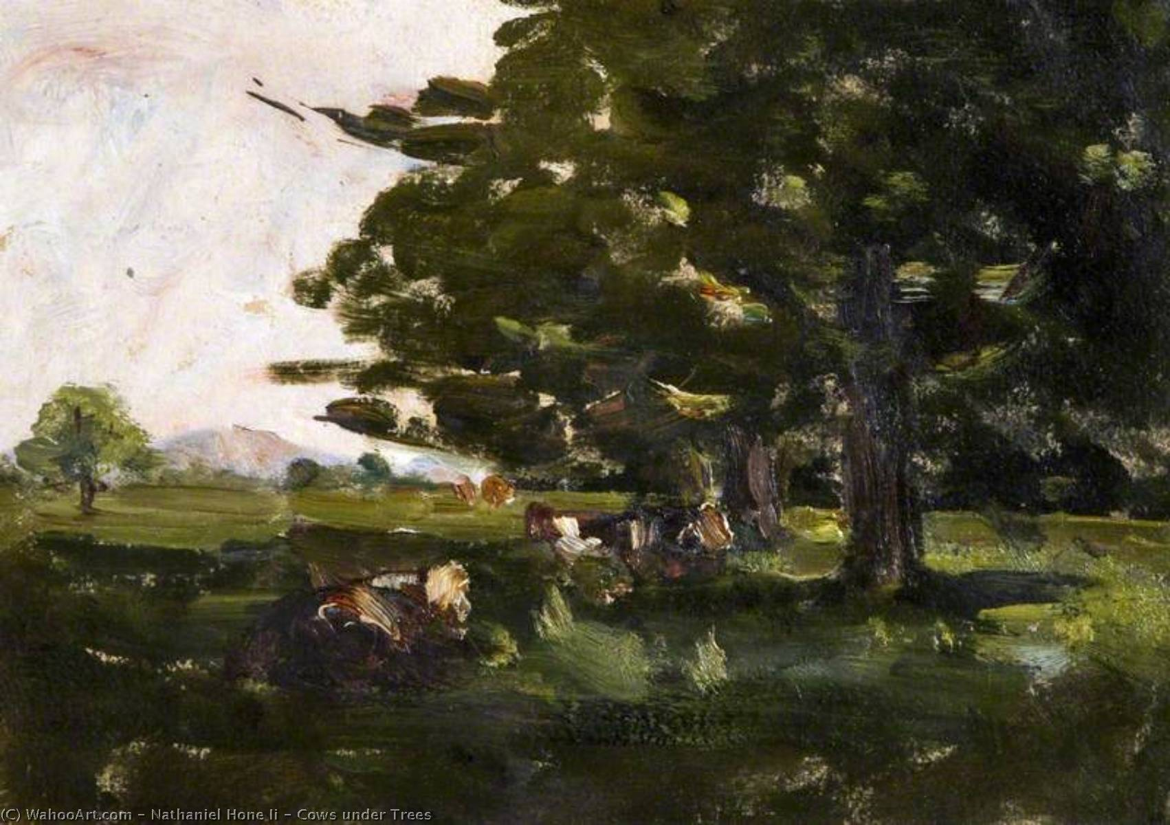 Cows under Trees by Nathaniel Hone Ii | Painting Copy | WahooArt.com