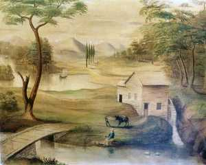 Joseph H Hidley - Pastoral Scene with Mill, (painting)