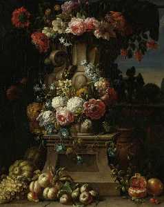 Gaspar Peeter De Verbruggen The Younger - A Vase of Flowers with Fruit in a Landscape
