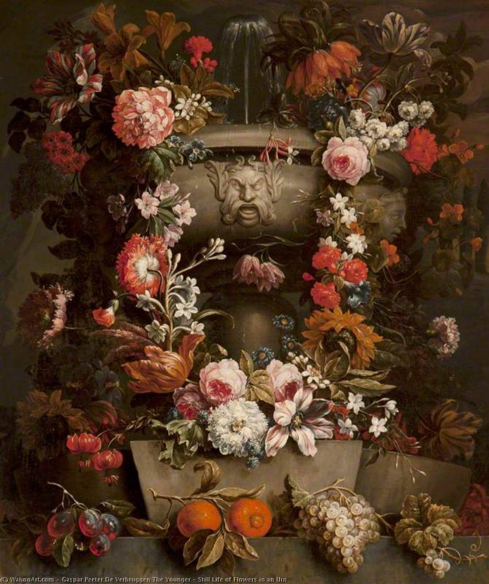 Still Life of Flowers in an Urn by Gaspar Peeter De Verbruggen The Younger | Museum Quality Reproductions | WahooArt.com