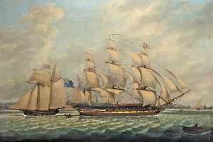 John P Jenkinson - Frigate and a Sloop in the Mersey