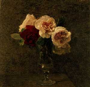 Henri Fantin Latour - Still Life Pink and red Roses