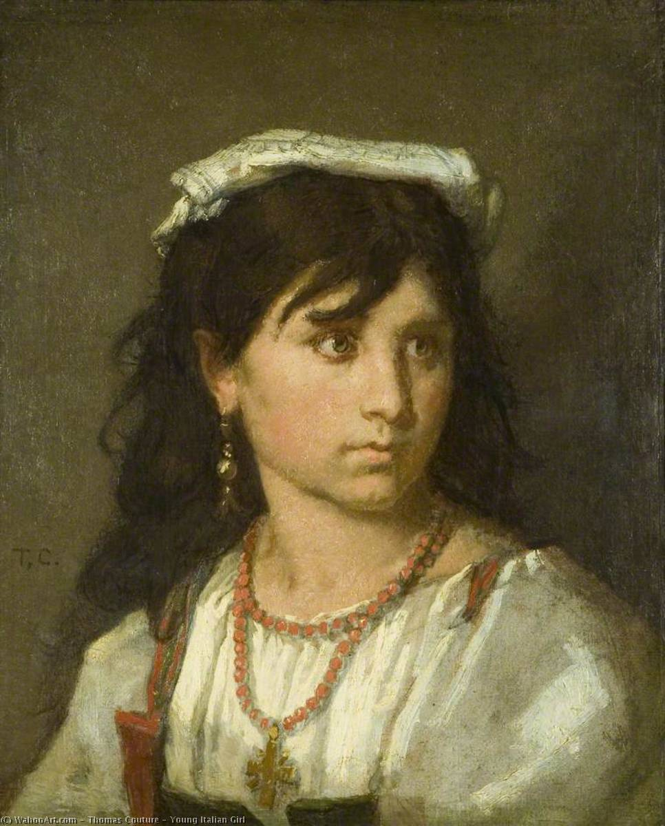 Young Italian Girl, 1877 by Thomas Couture (1815-1879, France) | Museum Quality Reproductions | WahooArt.com
