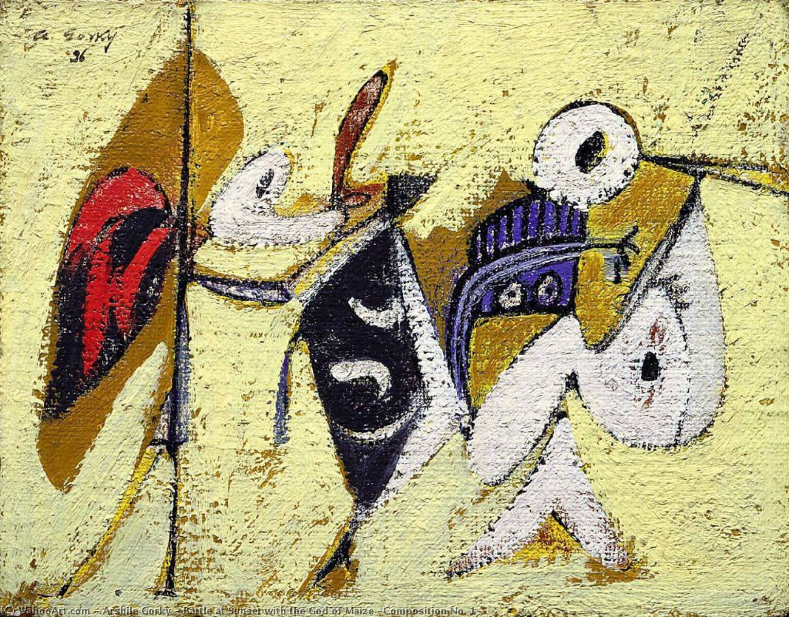 Battle at Sunset with the God of Maize (Composition No. 1), Oil On Canvas by Arshile Gorky (1904-1948, Turkey)