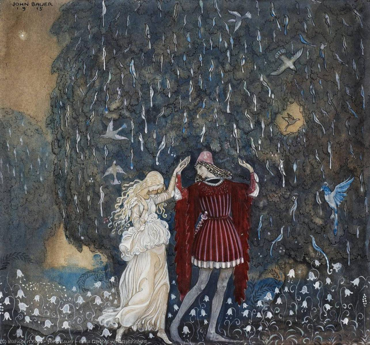 Lena Dances with the Knight, 1915 by John Bauer (1882-1918, Sweden) | Art Reproduction | WahooArt.com