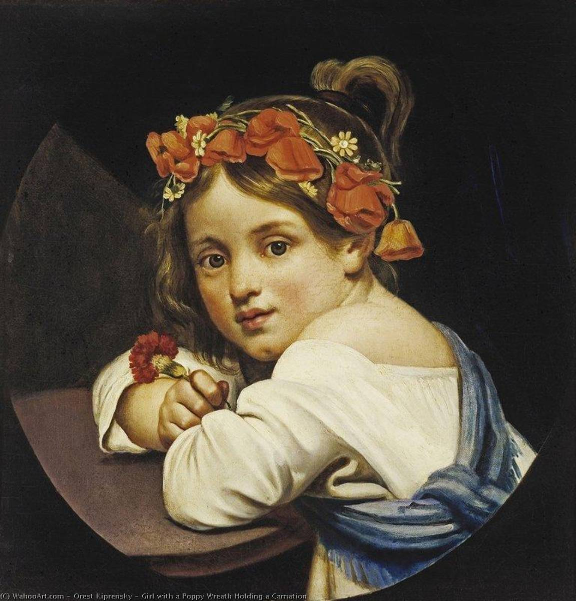 Girl with a Poppy Wreath Holding a Carnation, Oil On Canvas by Orest Adamovich Kiprensky (1782-1836, Russia)