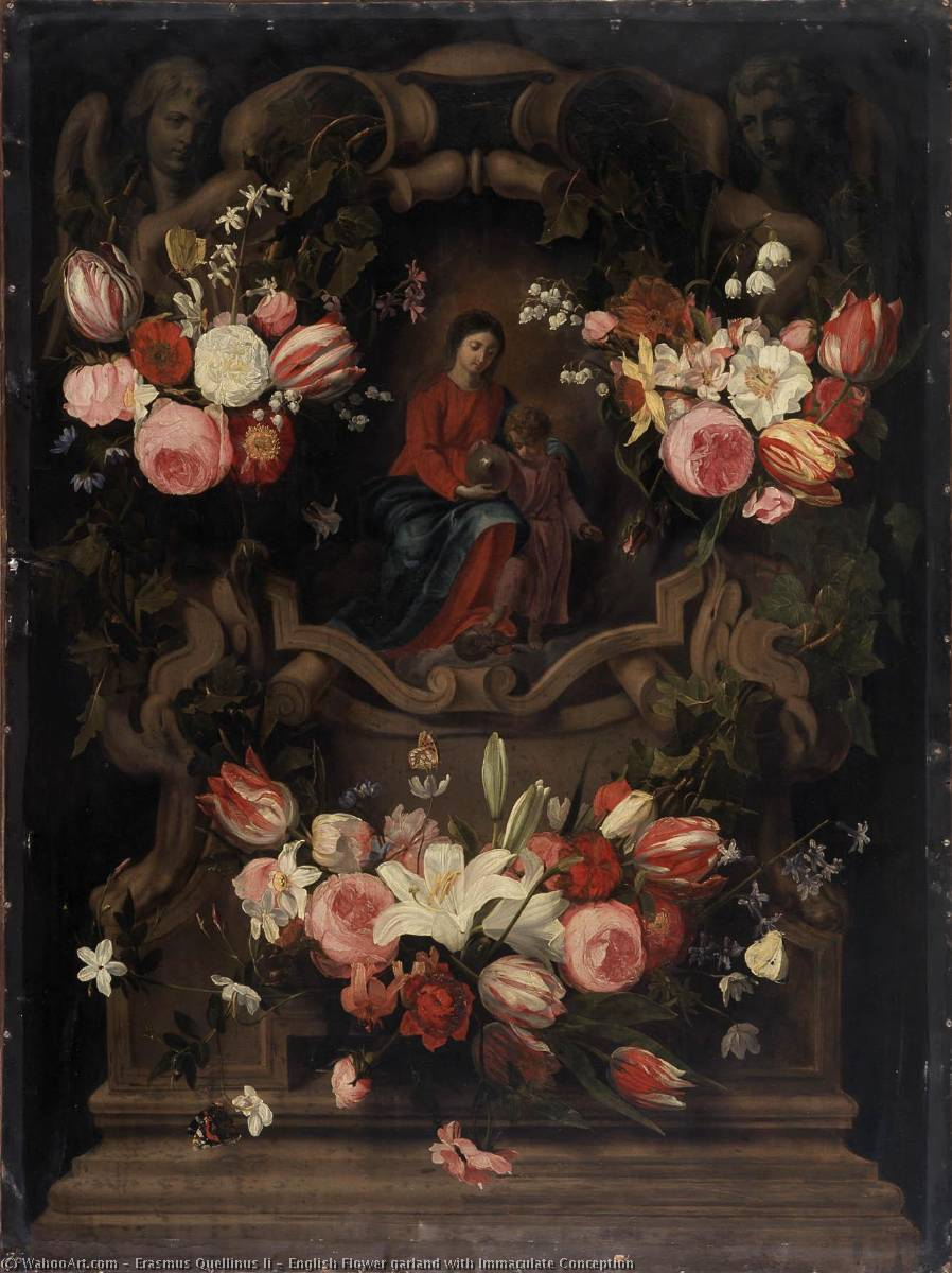 English Flower garland with Immaculate Conception, 1645 by Erasmus Ii Quellinus (1607-1678, Belgium) | Museum Quality Reproductions | WahooArt.com