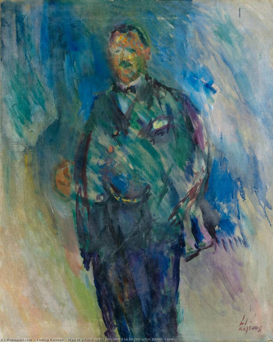 Man in a Frock coat, presumed to be the artist Henrik Lund by Ludvig Karsten (1876-1926, Norway) | Museum Quality Copies Ludvig Karsten | WahooArt.com