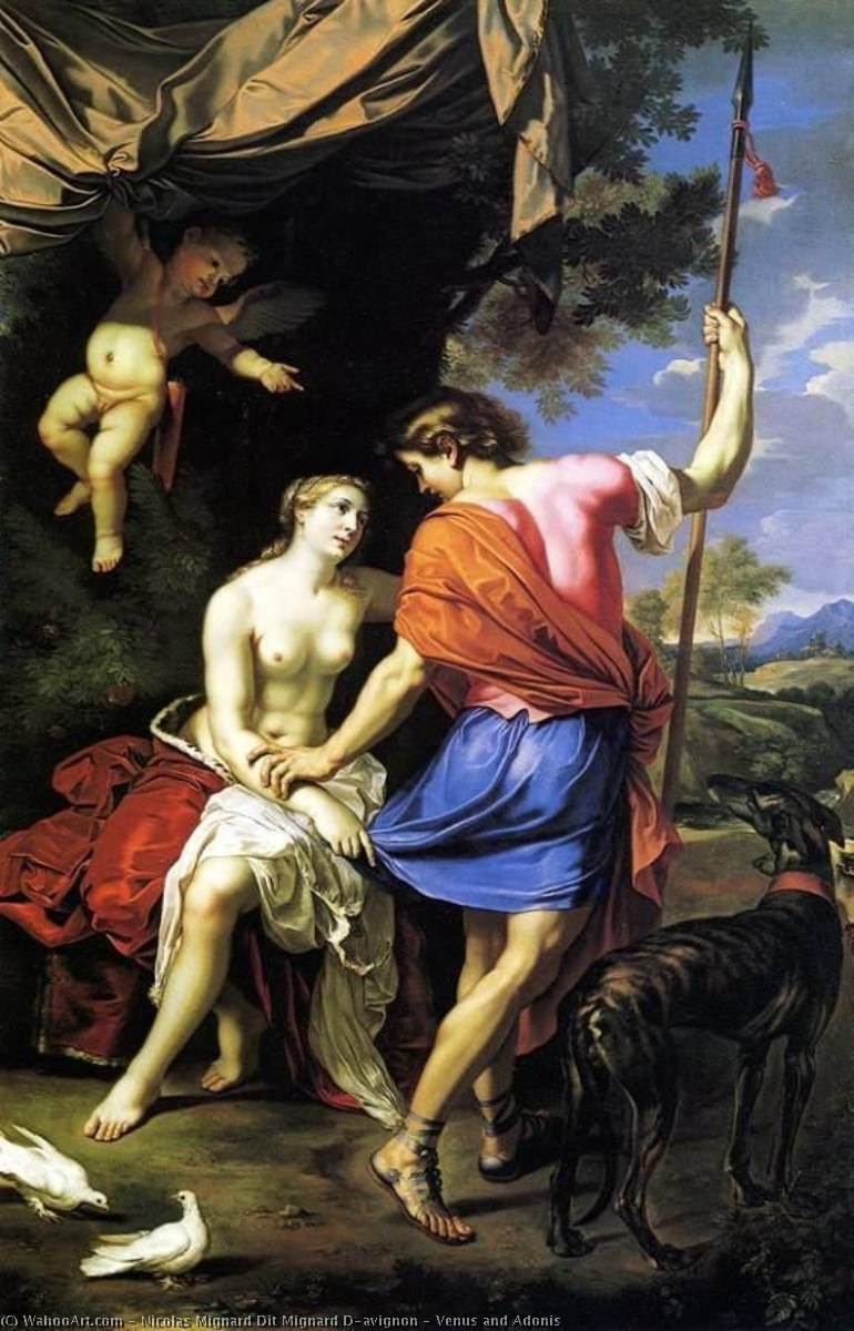 Venus and Adonis, Oil On Canvas by Nicolas Mignard Dit Mignard D'avignon (1606-1668)
