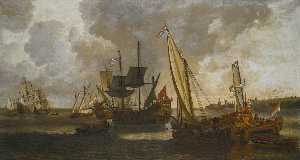 Order Paintings Reproductions | Yachts at anchor, a view of Rotterdam beyond by Lieve Pietersz Verschuier | WahooArt.com